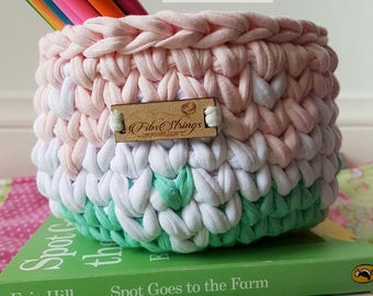 Handmade Crochet Ombre Inspired T-Shirt Yarn Basket