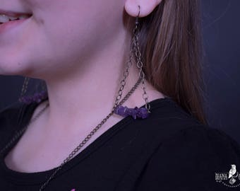 Chain Purple Bead Earrings with Purple Chain Necklace