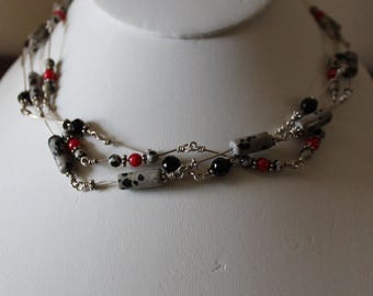 Wire Wrapped Dalmatian Jasper, Red and Black Stone Three Stand Necklace