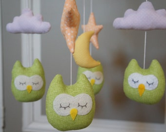 Green star owls orange white cloud and Yellow Moon baby mobile