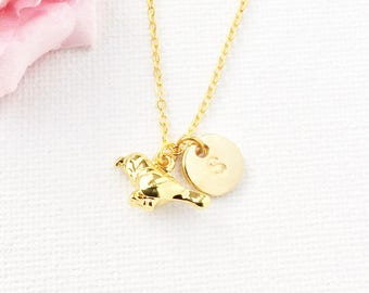 Gold bird Initial and birthstone necklace, bird necklace, birthstone necklace, initial necklace, bird necklace, gold bird,baby bird necklace