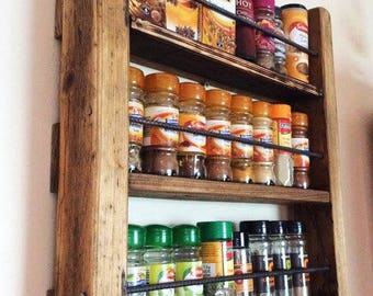 Spice Rack - Wooden Spicerack - Kitchen Storage - Rustic Spice Rack - Wood and Metal - Spice Jar Storage - Rustic Wood - Reclaimed Wood