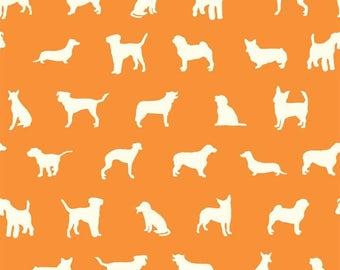 The Show Orange Poplin For The Farm Fresh Collection Birch Organic Fabrics, Sustainable Low Impact Dye Cotton Fabric, Dogs