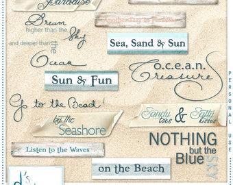Majestic Ocean - Digital Scrapbooking Labels & Word Arts - Scrapbook - Imprimable