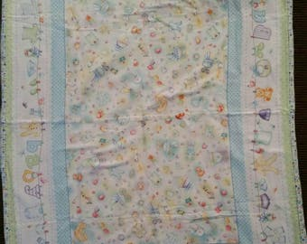 Handmade, all flannel, baby boy, clothesline print with burp cloth.