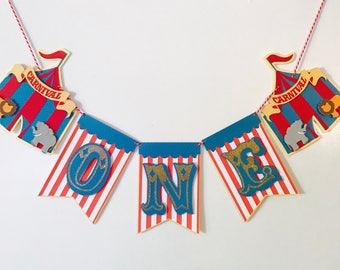 Carnival Birthday Highchair Banner, First Birthday Banner, Circus High Chair Banner