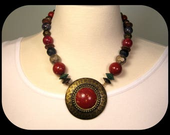 Vintage Haute Couture Early Carol Dauplaise Rusty Red Glass Faux Lapis & Hammered Brass PENDANT NECKLACE