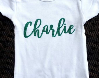 Glitter Name Onesie - Personalized Onesie - Baby Girl Custom Onesie - Hello World - Newborn Outfit - Baby Name - New Name Gift - Home Outfit