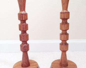 Modern Artisan Hand Turned Bulbinga Wood Candlesticks