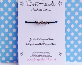 Best Friends Are Like Stars Wishing / Friendship Bracelet - Wish String - Star Charms - Handmade Gift