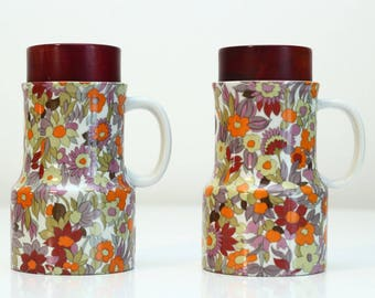 1970s Oil and Vinegar Ceramic Set - Flower Power Pattern - Made in Italy