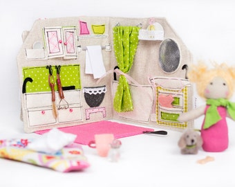 Sewn Fabric Travel Dollhouse (Green U0026 Pink) With Accessories / Portable  Dollhouse / Travel