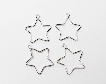 P0591/Anti-Tarnished Rhodium Plating Over Brass/Stubby Star Pendant Small/15x17mm/4pcs