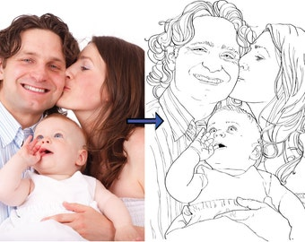Custom Coloring Page | Family Portrait | Wedding Day | Kids Activity Sheets | Birthday Gift |SENT ELECTRONICALLY