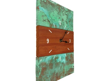 Copper (oxidized) and Reclaimed Cedar Wood Handcrafted Wall Clock