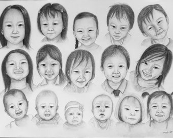 Custom pencil sketch with optional watercolour details. I can draw people, babies or pets from your photographs!
