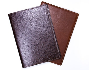 DORNEY Premium Leather A5 notebook in Tan or Ostrich Print Leather