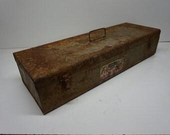 Vintage Stanley Tools Fix-Up Set Metal Tool Box, Distressed Tool Box, Rusty Tool Box, Repurpose Flower Pot
