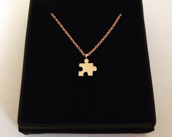 Rose Gold puzzle jigsaw Necklace