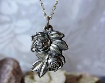 Sterling Silver Rose Prayer Necklace