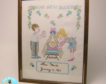 Our New Baby - Cross Stitch, Lisa Marie - January 5, 1977 - Handmade, Vintage,