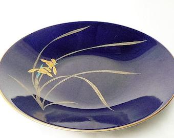 "Big Cobalt Blue Bowl - Koransha Japan 1980s Blue Ceramic Shallow Serving Bowl  - Gold Rim with Golden Hanashōbu Iris Flower Design 11"" wide"