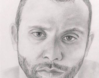 Sketch drawing of teen/adult, pencil drawing from photo
