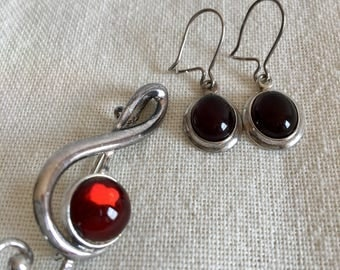 Cherry Amber Music Brooch and Earrings