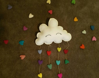 Love Cloud | hanging / mobile / felt plushie - Bedroom Decor. Nursery Bunting. Party Décor. Nursery Décor – Made to order