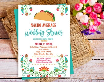 nacho average wedding shower, taco mexican wedding shower invitation, FIESTA couples wedding Bridal shower, Fiesta Couples Shower mexican,