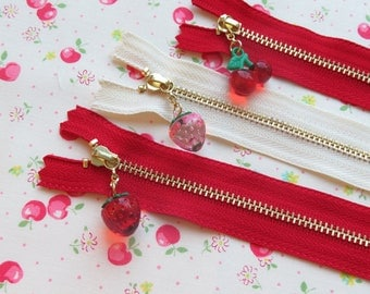 Set of 3 Atsuko Matsuyama A-Two Closed End Zipper with Strawberry Cherry Zipper Pull | 24cm/9.5""