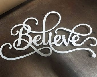 believe metal word art sign metal wall art metal decor modern metal wall