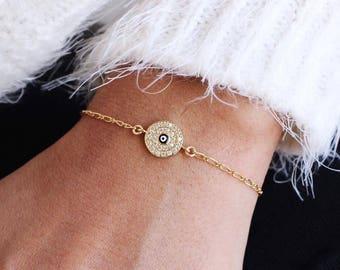 Evil Eye Bracelet, Gold Evil Eye Bracelet, Dainty Bracelet, Hamsa Bracelet, Gold Bracelet,Evil Eye Jewelry,Evil Eye Gold Bracelet