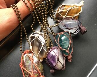 Netted Crystal Necklaces | Fluorite, Tigers Eye, Orange Aura, Botswana Agate