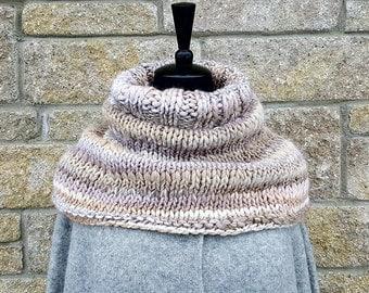 Chunky Knit Scarf | knit infinity scarf - beige knit scarf - women scarf - winter scarf - knit chunky cowl - knit capelet - knit neckwarmer