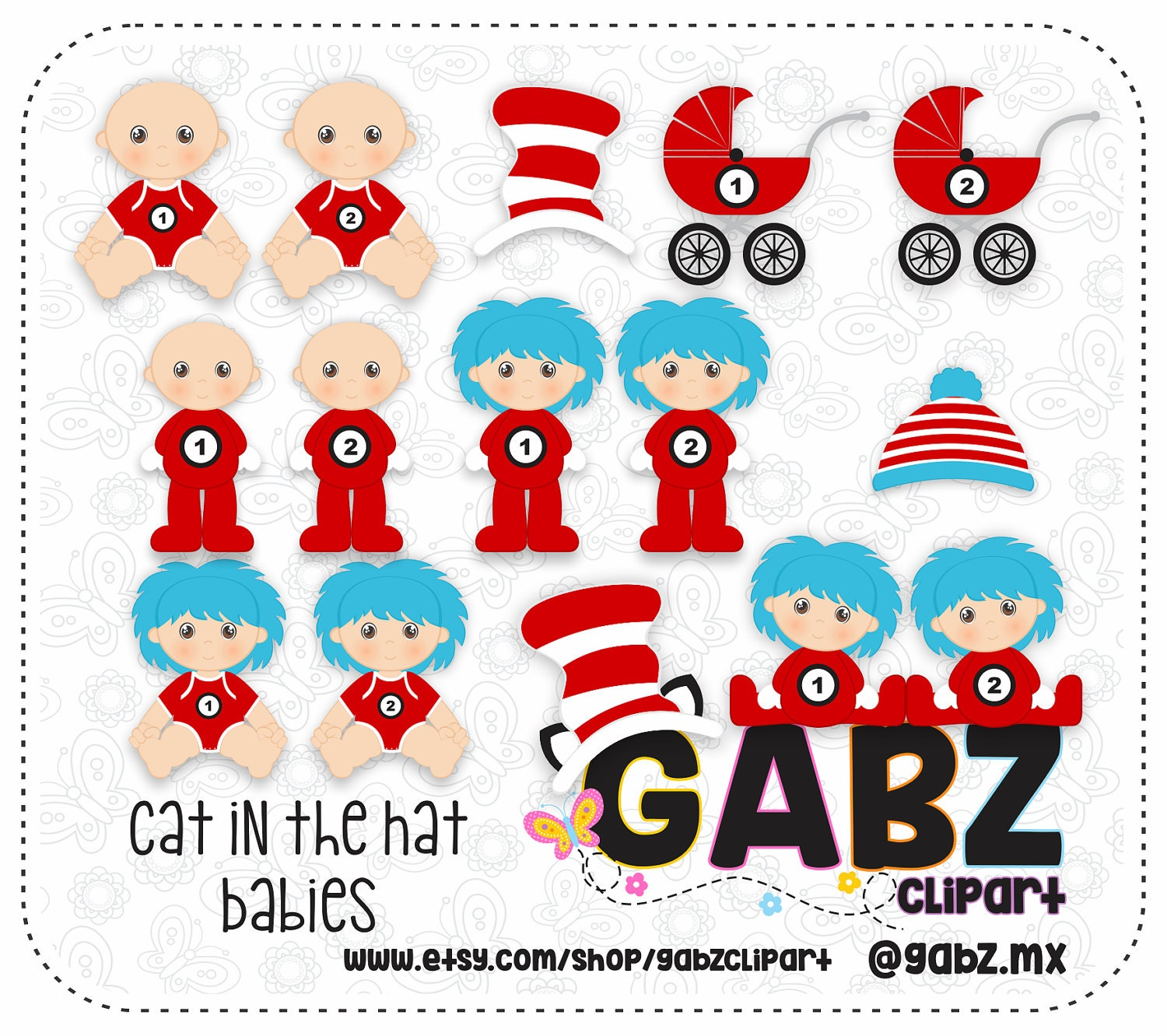 Cat in the Hat Babies Baby Shower Clipart Thing 1 Thing 2 Baby