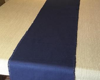 """Navy blue linen table runner/13.5""""x65""""long table runner/ linen table runner"""