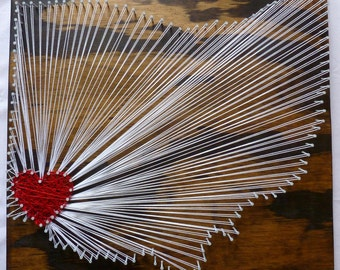 Any State Any City String Art, State String Art, State with Heart, Home is Where the Heart Is