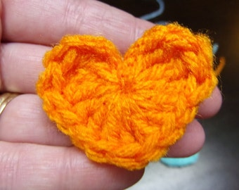 """crocheted heart embellishments 2"""", set of 15 hand crocheted, assorted colors, scrap booking, hair bows, crocheted heart, heart embellishment"""