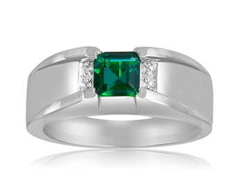 Diamonds and Emerald Ring. Men's Emerald Ring In Sterling Silver with Genuine Diamonds. Sterling Silver Emerald Ring. Green Gemstone Ring