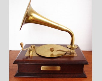 Rare Enesco Vintage Gramophone Music Box, Brass Features, Walnut Box, Plays Beethoven's Fur Elise Lullaby, Red Velvet Lining