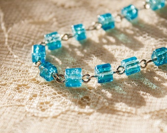 """Blue """"Ice Cube"""" Necklace"""