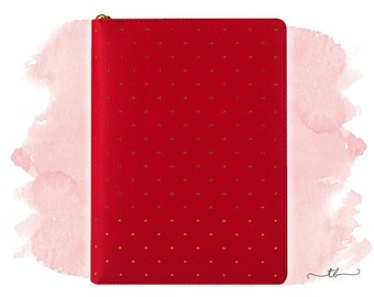 Planner binder A5 in red with gold dots and zipper