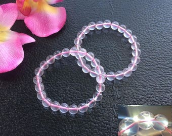 Rare AAA Quality Natural Transparent Madagascan Star Ice Rose Quartz 8MM Elastic Bracelet