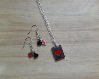 Queen of Hearts card deck earring and necklace set, Alice in Wonderland esque