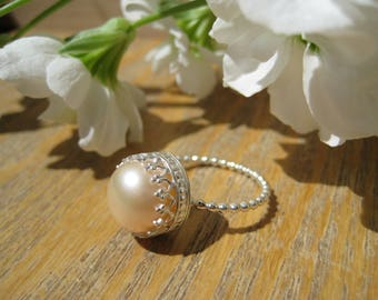 Mermaid Peach Pearl and Sterling Silver Filigree Statement Ring