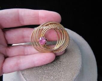 Vintage Goldtone Pink Rhinestone Circles Pin
