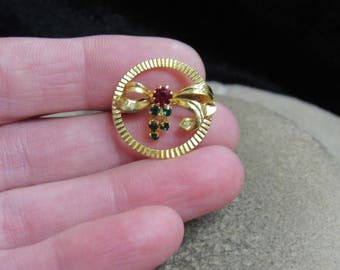 Vintage Goldtone Bow Red & Green Rhinestone Pin