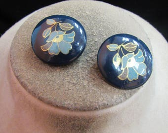 Vintage Pair Of Chunky Shades Of Blue & Purple Clip Earrings