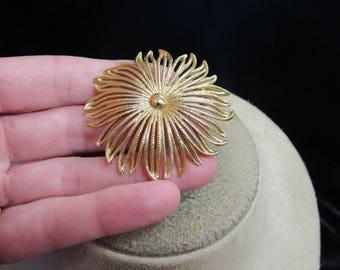 Vintage Signed Monet Goldtone Floral Pin